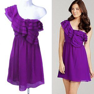 CHELSEA & VIOLET Purple 1 Shoulder Ruffle Dress